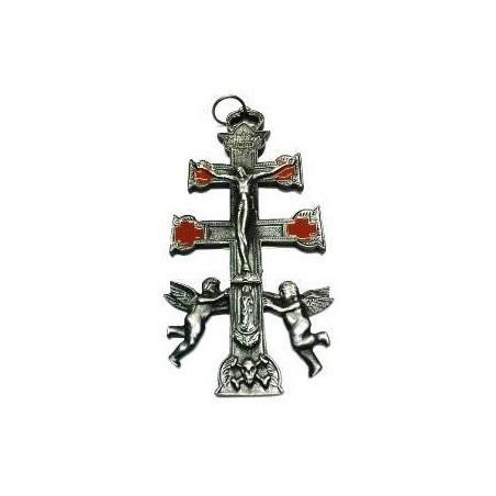 cruz de caravaca prateada – 15cm