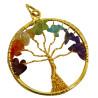 Pingente Arvore da Vida - Chakras Dourado