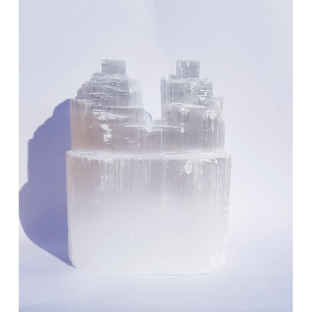 Selenite Torre Dupla - 15cm